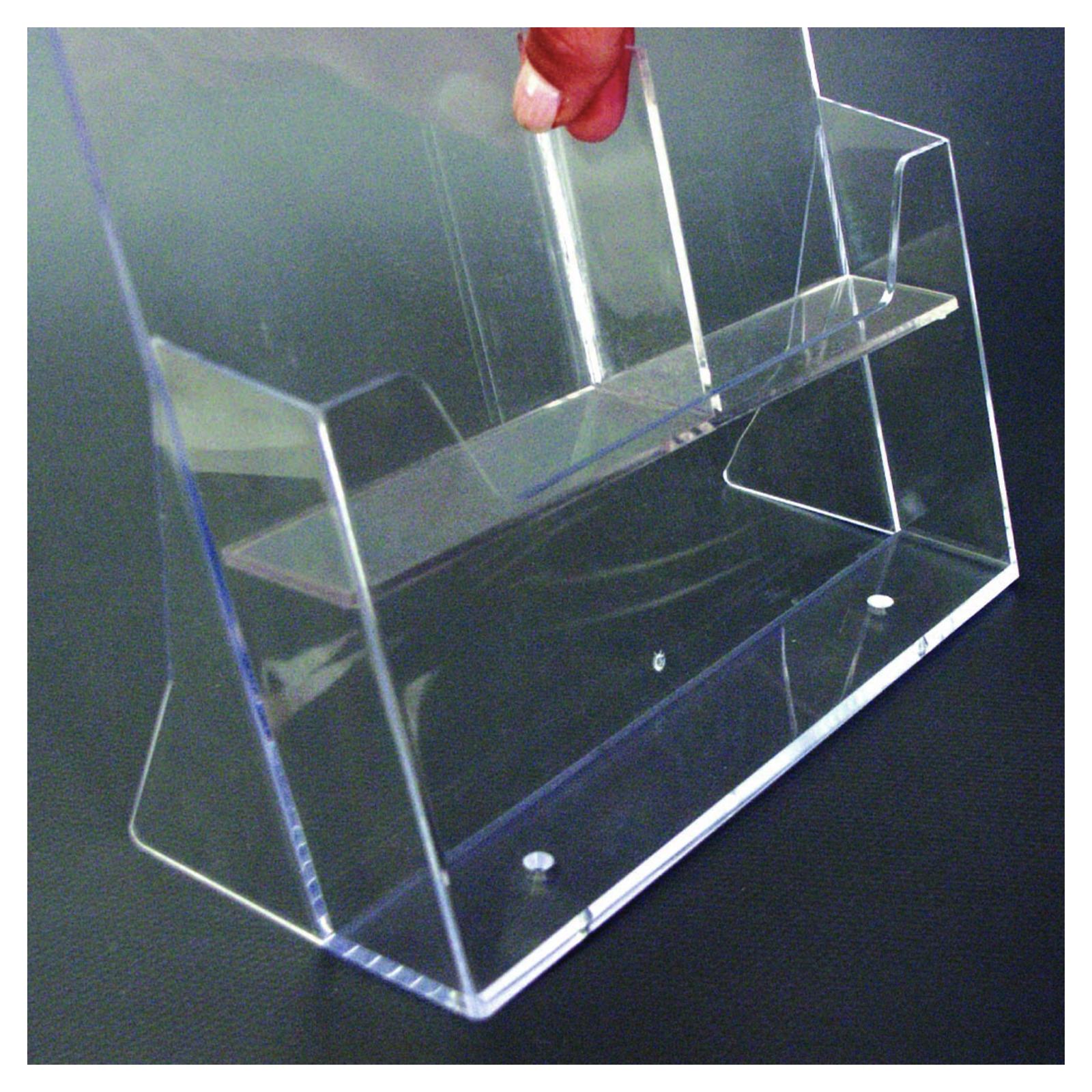 Tisch prospekthalter acryl 2xa6 quer prospektst nder for Acryl tisch