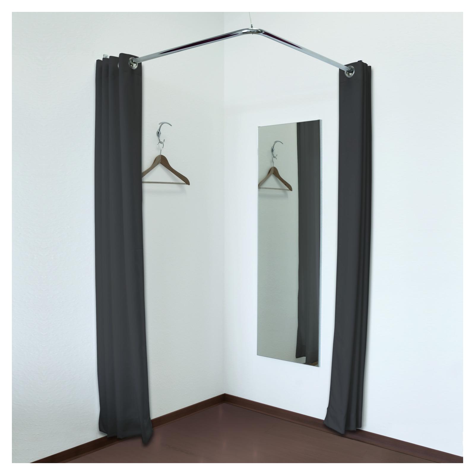eck umkleidekabine mit zwei vorh ngen spiegel und zubeh r. Black Bedroom Furniture Sets. Home Design Ideas