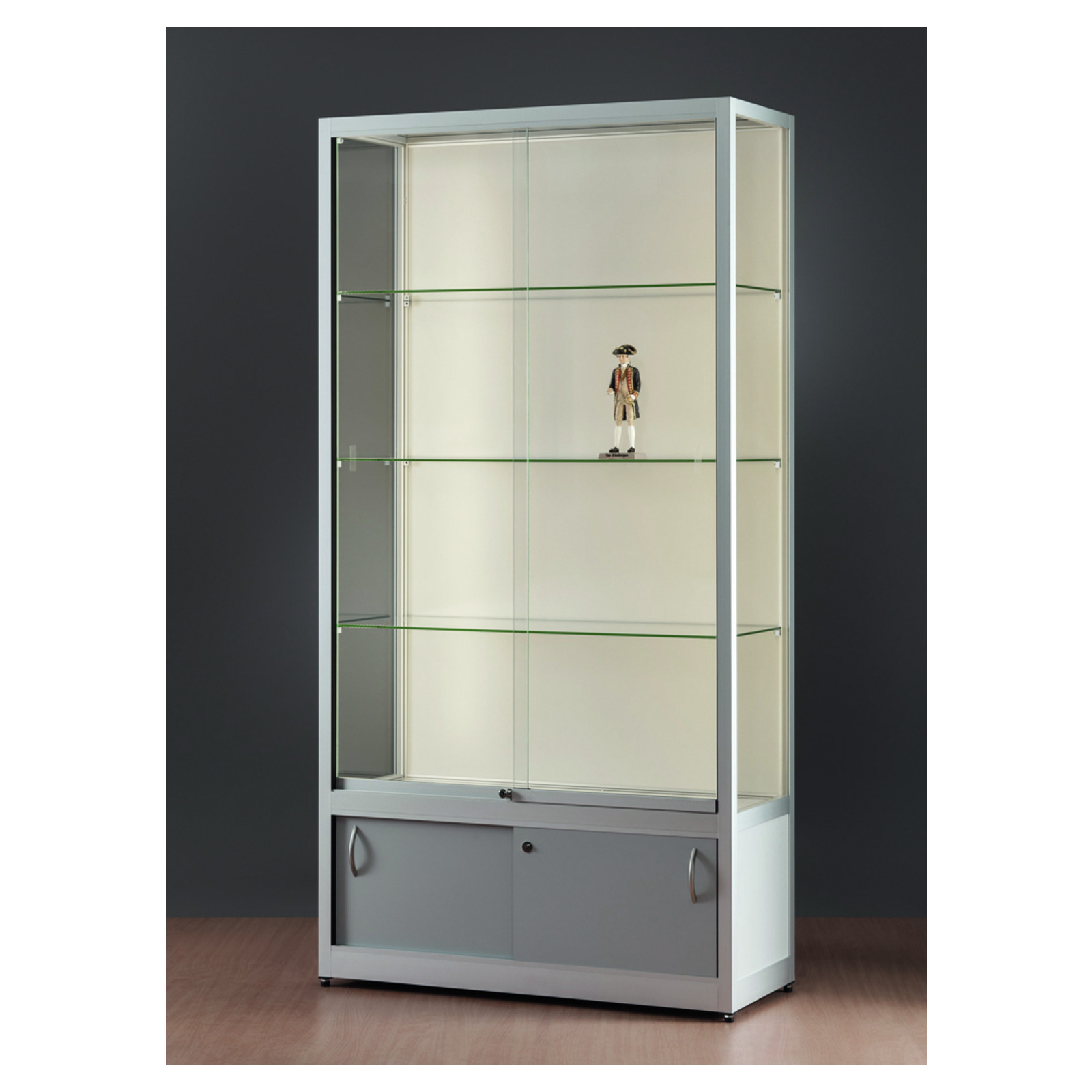profilvitrine 100 cm mit schrank und led stripe beleuchtung verkaufsvitrine led vitrinen. Black Bedroom Furniture Sets. Home Design Ideas